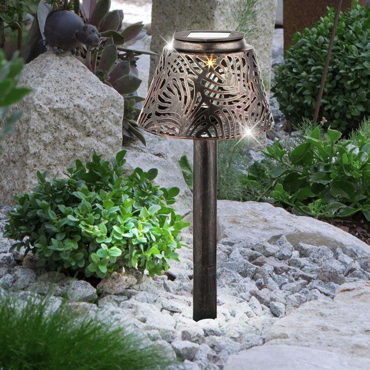 LED Solar Lampe Garten Weg Steck Tisch Leuchte Terrassen Beleuchtung Hof Erdspieß kupfer Globo 33002 – Bild 2