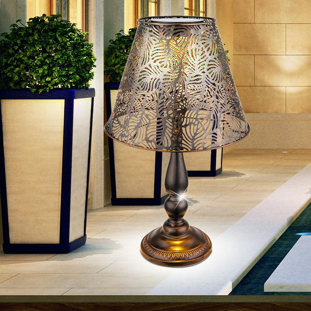 led solar tisch leuchte kupfer terrassen beleuchtung au en steh lampe balkon ebay. Black Bedroom Furniture Sets. Home Design Ideas