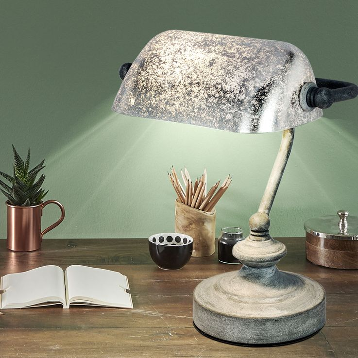 Vintage Writing Table Banker Lamp Office Beistell Spotlight Leaf Silver Patinated  Globo 24917 – Bild 3