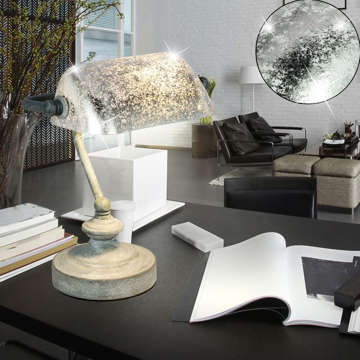 Vintage Writing Table Banker Lamp Office Beistell Spotlight Leaf Silver Patinated  Globo 24917 – Bild 5