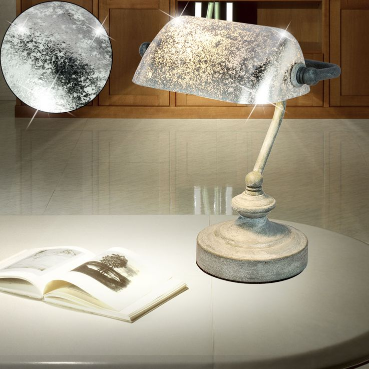 Vintage Writing Table Banker Lamp Office Beistell Spotlight Leaf Silver Patinated  Globo 24917 – Bild 4