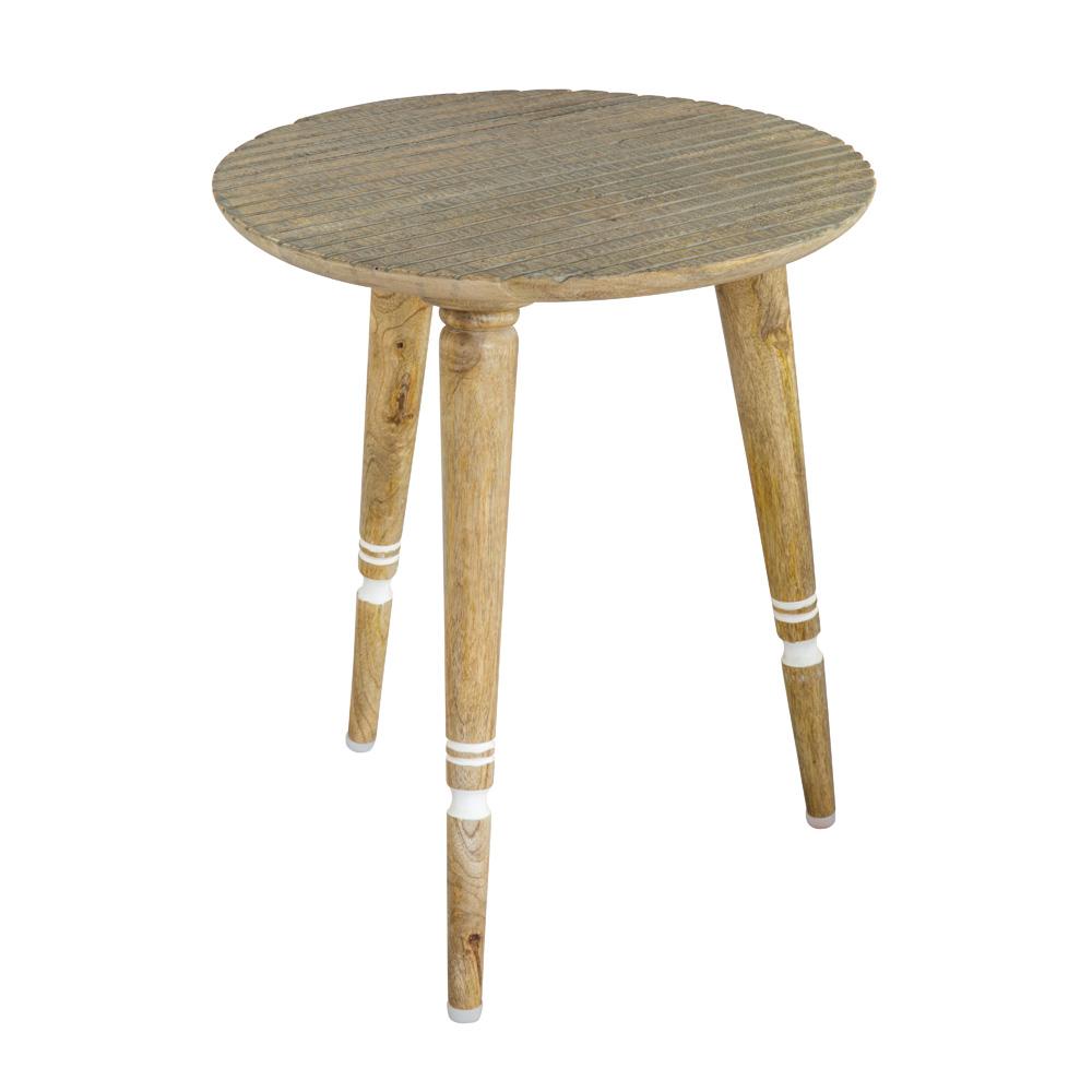 Beistelltisch Beistelltisch, Mango Holz, Tischplatte grau Holzfüsse Holz natur
