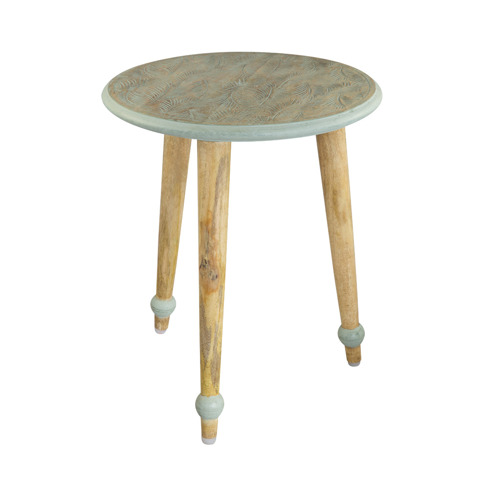 Beistelltisch Beistelltisch, Mango Holz, Tischplatte mint Holzfüsse Holz natur