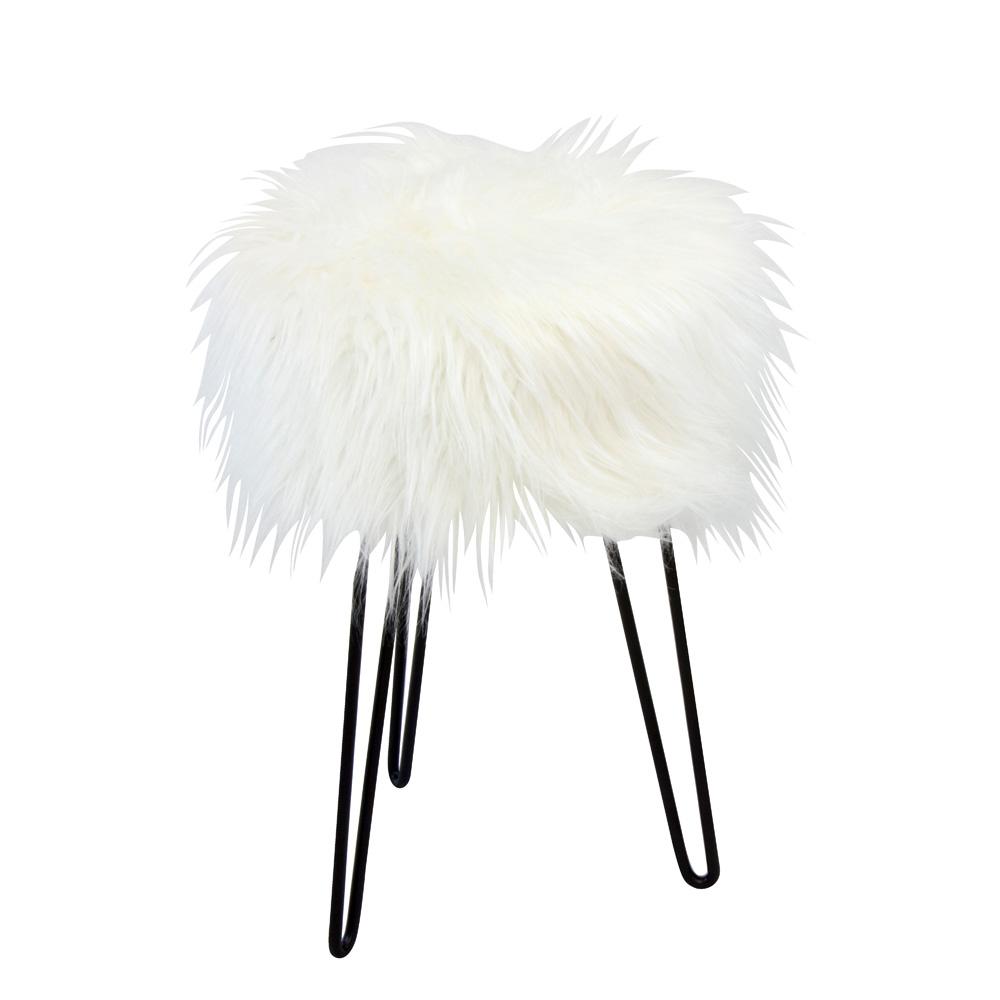 Sitzhocker Sitzhocker, MDF mit Kunstfell bezogen, weiß, Metallfüße schwarz