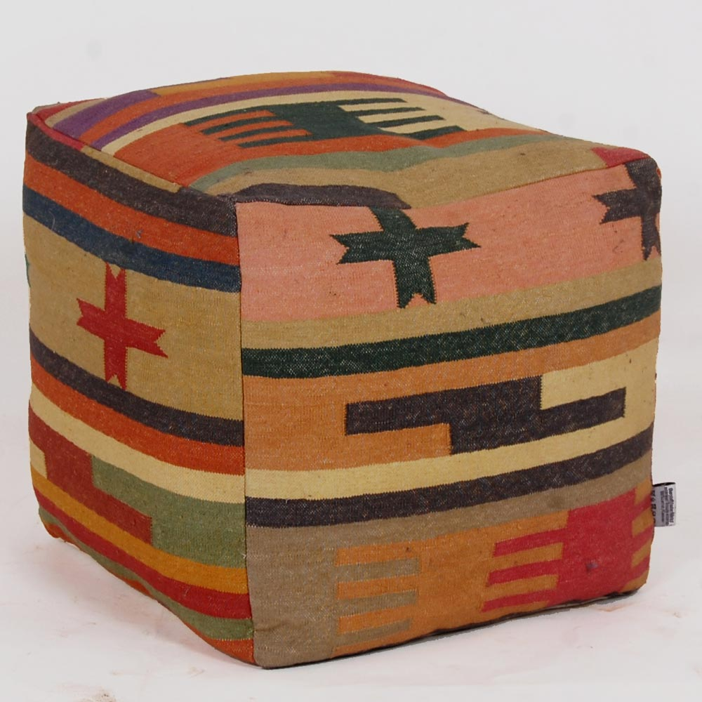 Stool cover Canvas colorful patchwork textile seat furniture design colorful