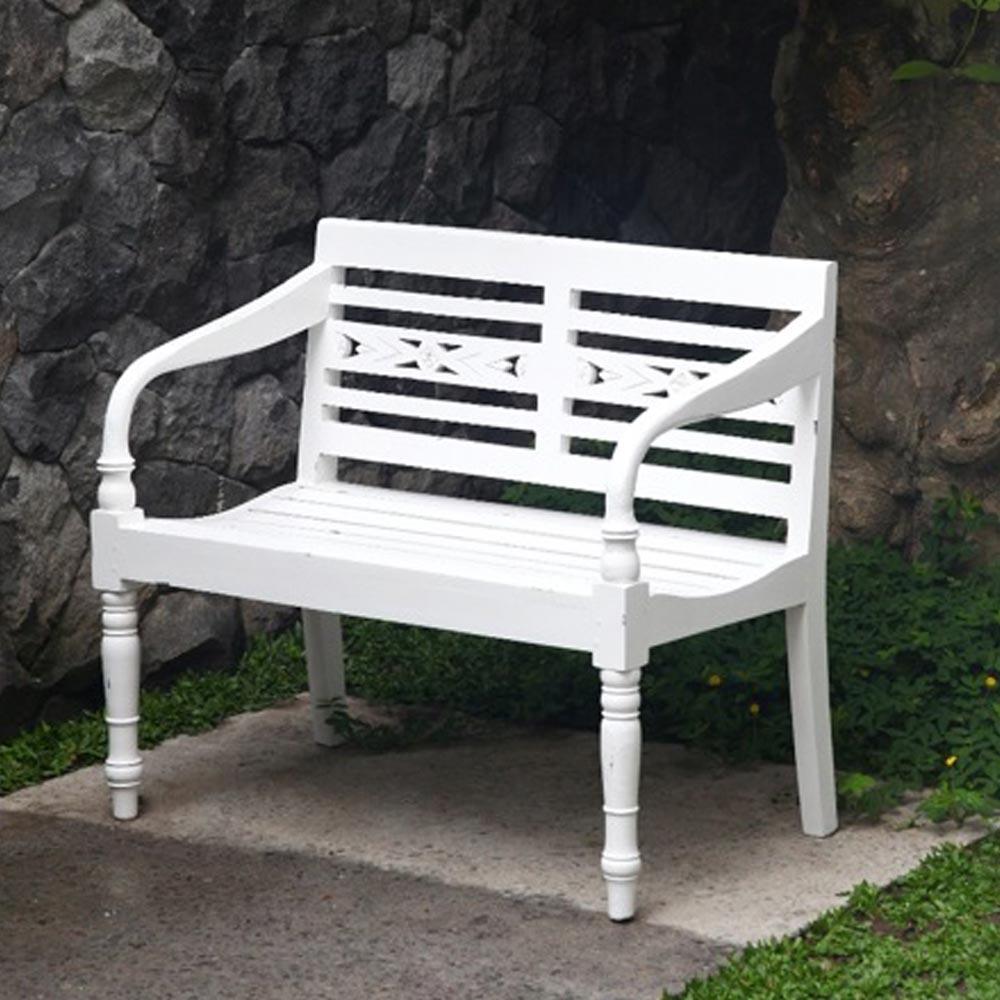 Gartenbank 2 Sitzer Mahogani Holz antik weiß max. 180 kg BHP B414029