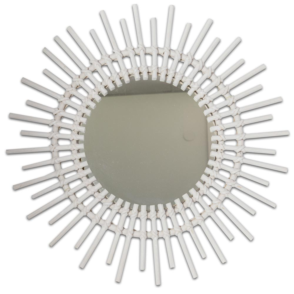 Wall Deco Make Up Cosmétique Rattan Design Miroir Blanc Couloir Couloir Couloir Ø 60 cm