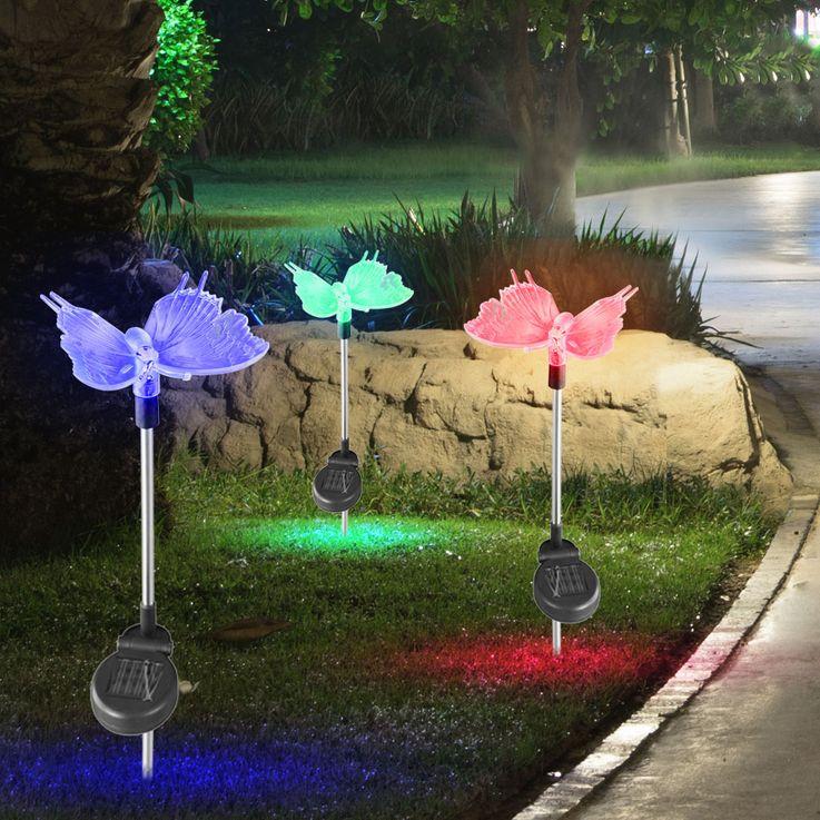 5x LED Plug solaire Lampes Jardin Papillon Chemin Changement de Couleur Décoration Éclairage au sol Spike Lumières – Bild 4