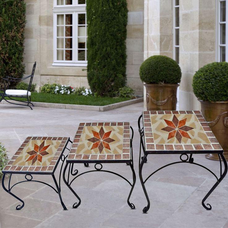 3er Set Mosaik Blumen Hocker Tisch Ablage Metall Stahl schwarz lackiert Harms 504889 – Bild 2