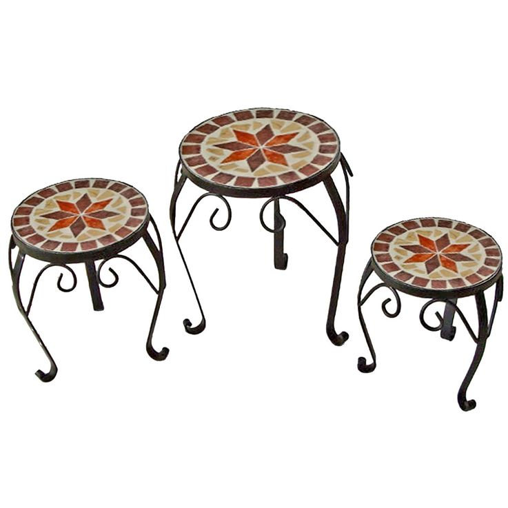 Set of 3 Mosaic Flowers Stool Table Shelf Metal Steel Black Painted  Harms 504890 – Bild 1