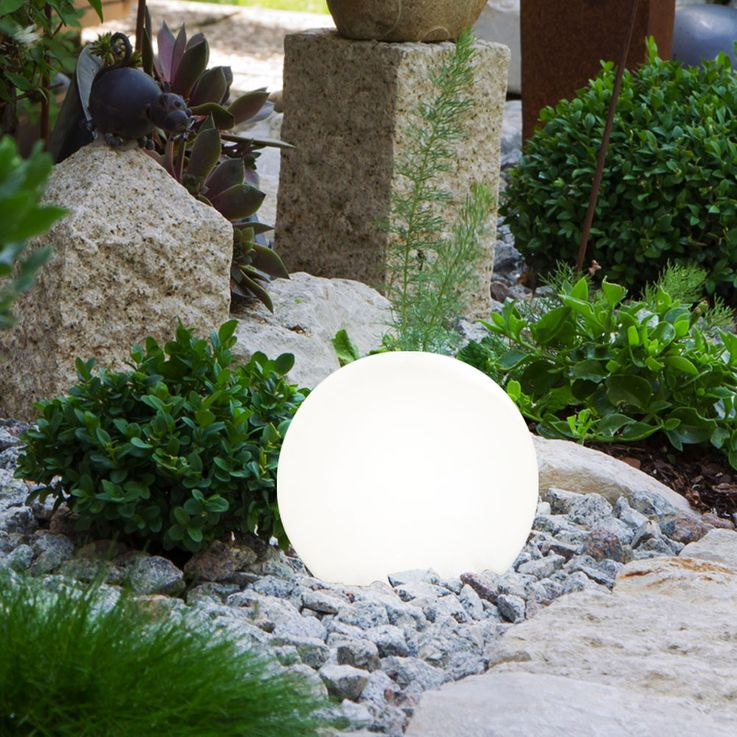 Set of 6 LED solar lamps in ball and stone design – Bild 5