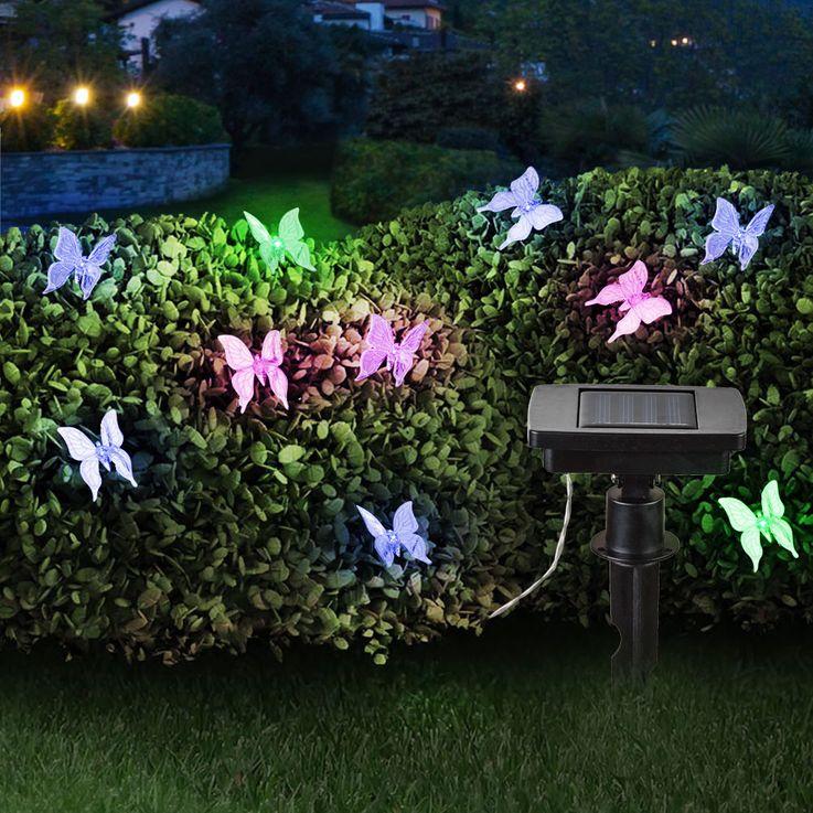 2er Set RGB LED Solar Außen Lichterketten 10x Schmetterling bunt Park Deko Farbwechsel Lampen – Bild 3