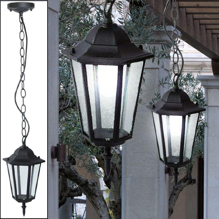 Außen Pendel Hänge Leuchte ALU Garten Decken Glas Lampe Strahler Laterne schwarz V-TAC 7072 – Bild 4