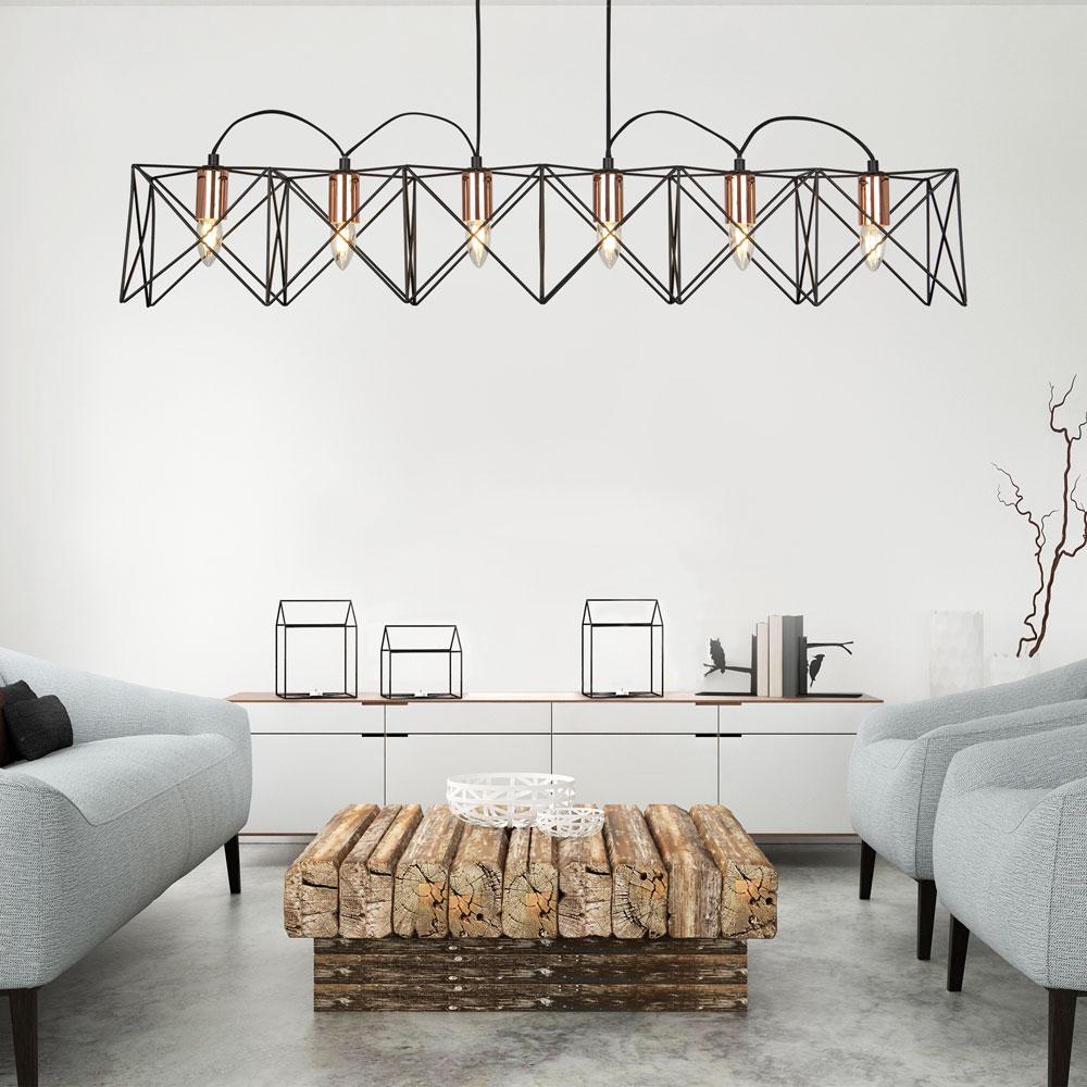 k fig design h ngelampe wohnzimmer beleuchtung decken pendel leuchte schwarz ebay. Black Bedroom Furniture Sets. Home Design Ideas
