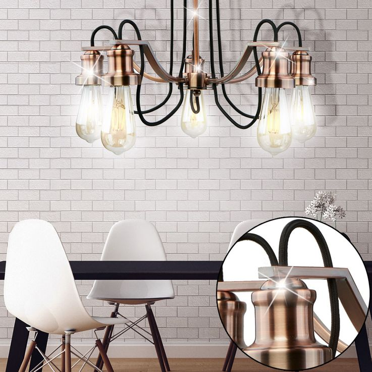 Ceiling Lamp Living Dining Room Luminaire Stainless Steel Fabric Lighting Copper Spots Searchlight 1065  -5CU – Bild 2