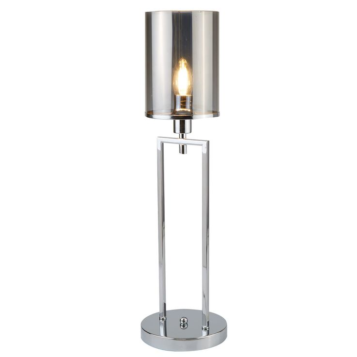 Lampe de table, chrome, verre, hauteur 58 cm – Bild 1