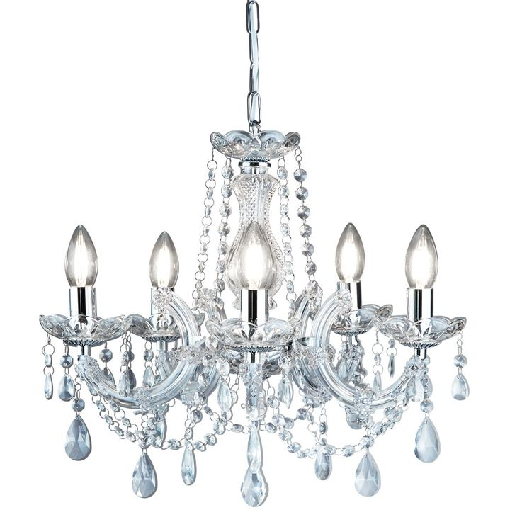 Kron chandelier living room lighting glass crystal ceiling hanging lamp chrome Searchlight 399  -5 – Bild 1