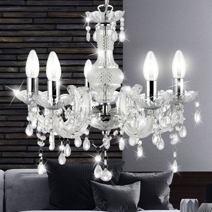 Crystal chandelier living room pendant lighting ceiling hanging luster clear  Searchlight 700002 – Bild 2