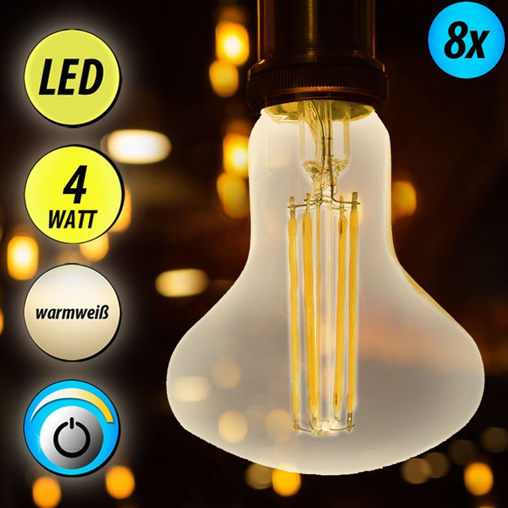 8x LED 4 Watt filament E14 bulbs, 300 lumens, dimmable – Bild 2