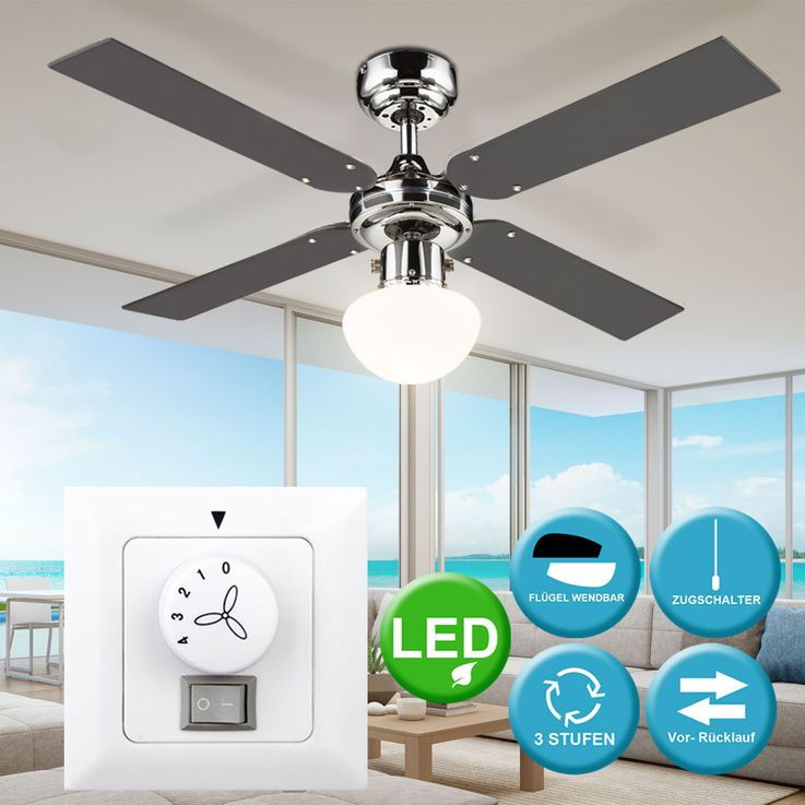 Decken Ventilator Zug Schalter Raum Lüfter Wärme im Set inkl. LED Leuchtmittel u. Wandschalter – Bild 2