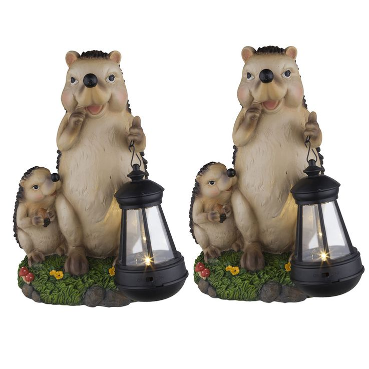 Lot de 2 lampes solaires LED en design hedgehog, hauteur 27 cm – Bild 1