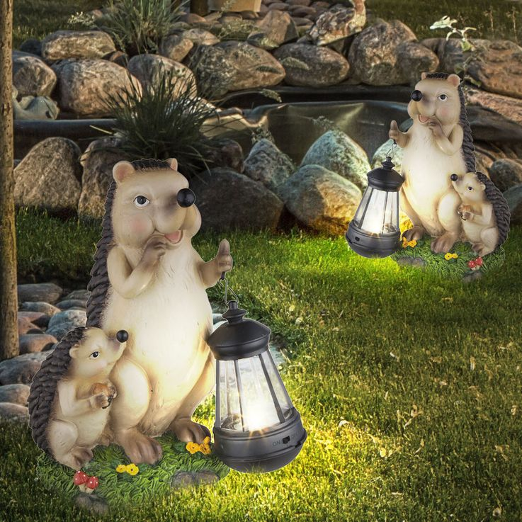 Lot de 2 lampes solaires LED en design hedgehog, hauteur 27 cm – Bild 2