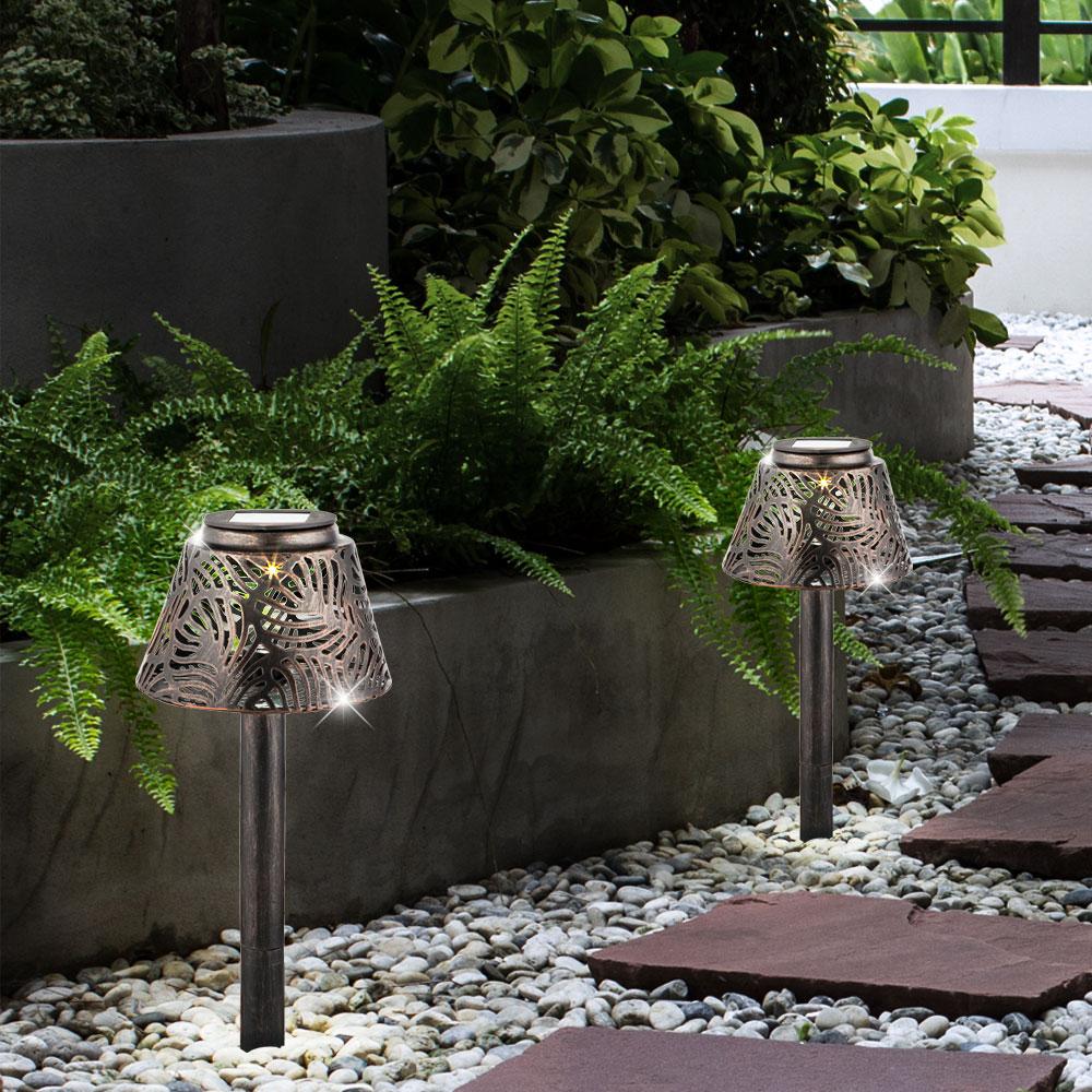 LED SOLAR Tisch Leuchte Garten Weg Außen Steck Beleuchtung Erdspieß Lampe KUPFER