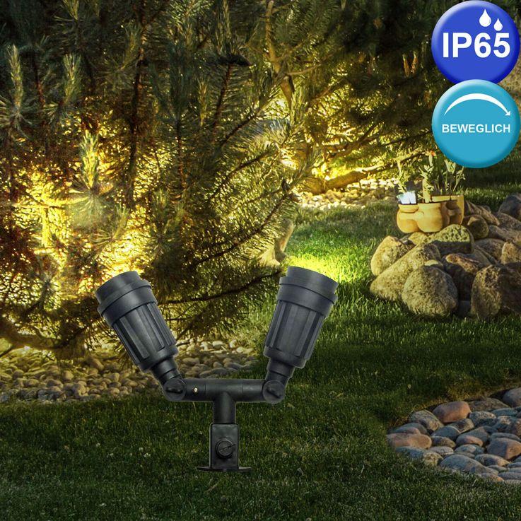 4er Set Stecklampen mit beweglichem Spot und Steckdosen – Bild 6