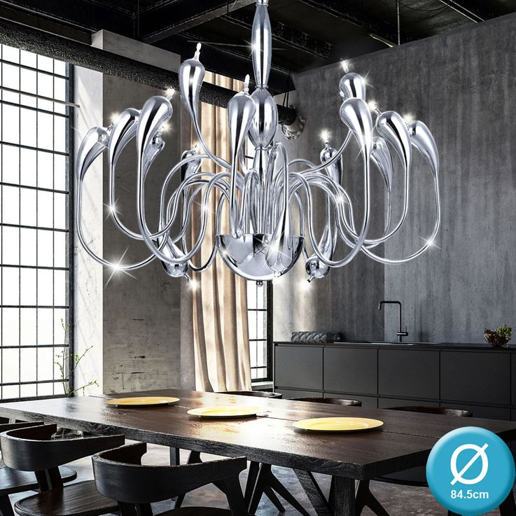 Chrome chandelier living room lighting ceiling hanging chandelier lamp diameter 84.5 cm  Eglo 30713 – Bild 2