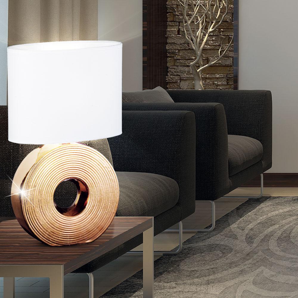 2x tisch lampe schlafzimmer nacht licht keramik bronze stoff wei textil leuchte ebay. Black Bedroom Furniture Sets. Home Design Ideas