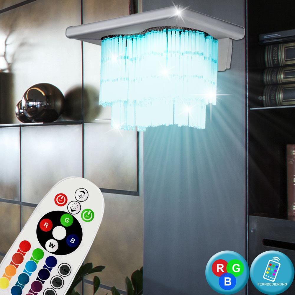 LED Decken Beleuchtung Glas satiniert DIMMER Flur Leuchte rund RGB Fernbedienung