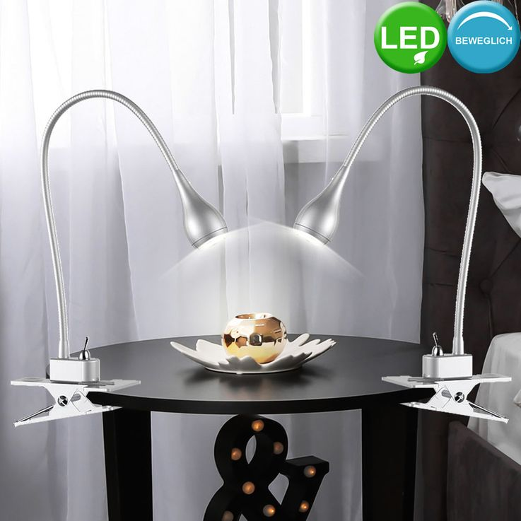 Table clamp lamp silver living working room lighting Flexo reading light  Nordlux 320293 – Bild 3