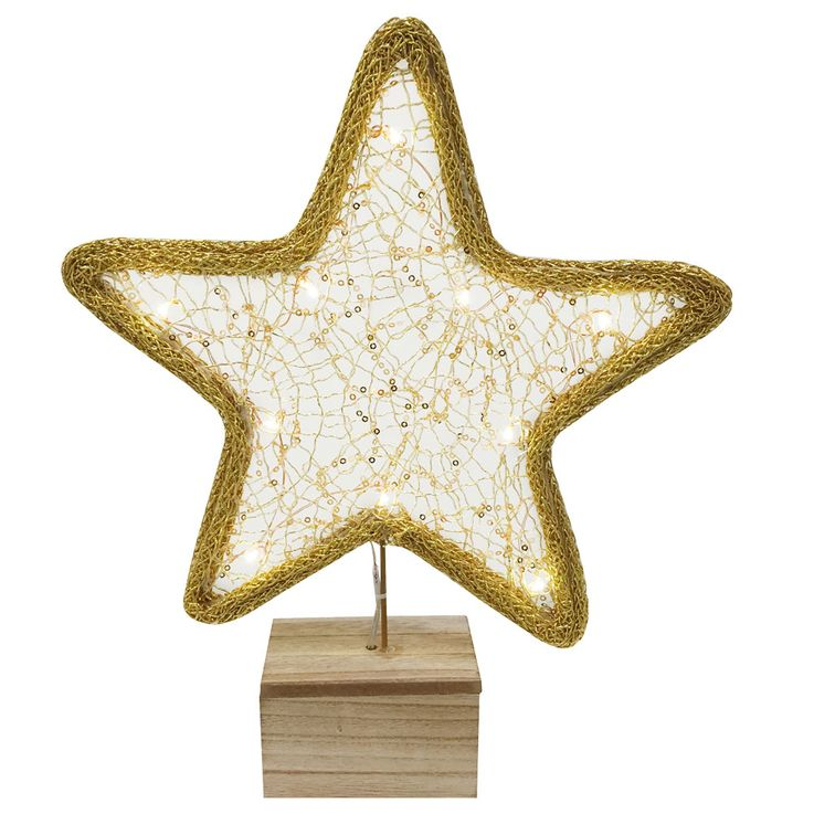 LED table lamp Christmas decoration STERN wood textile stand light gold  Nordlux 80270000 – Bild 1