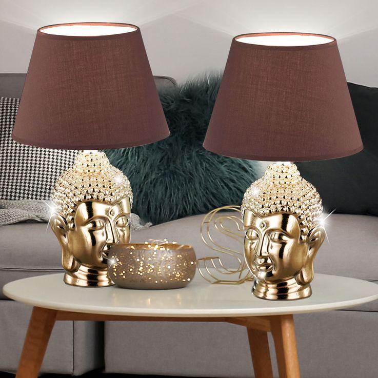 2er Set LED Tischleuchten in gold, Höhe 40cm, BUDDHA – Bild 5