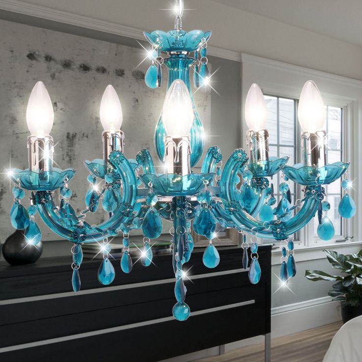 Chandelier turquoise living room lighting ceiling hanging lamp chrome pendulum chandelier  Globo 63110-5T – Bild 3
