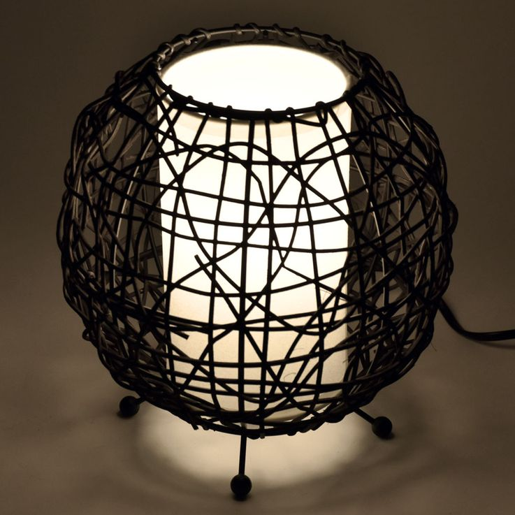 Table lamp dining room rattan fabric spotlight pattern Beistell ball light brown HI  -LITE 12091018 – Bild 3