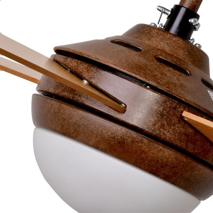 Decken Ventilator Raum Kühler Lüfter Blatt Gold Fernbedienung 3 Stufen Glas Leuchte Globo 03385G – Bild 7