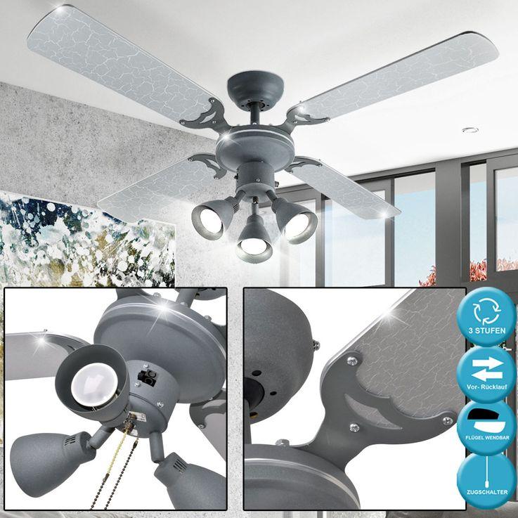 Decken Ventilator Raum Kühler Lüfter Blatt Silber Zugschalter 3 Stufen Glas Leuchte Globo 03357 – Bild 4