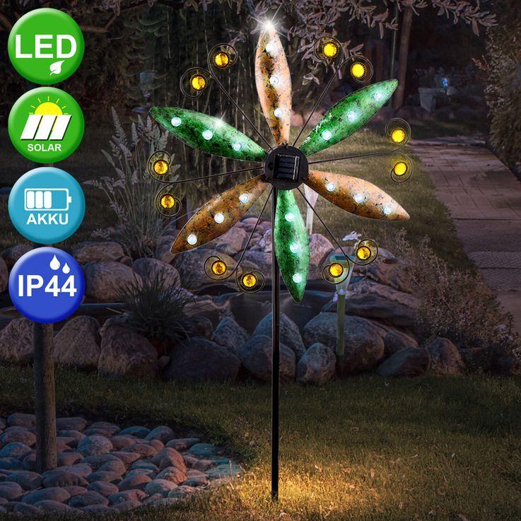 LED solaire plug-in lumière vent roue aile terre spike balcon spotlight rouille couleurs  Globo 34902 – Bild 2