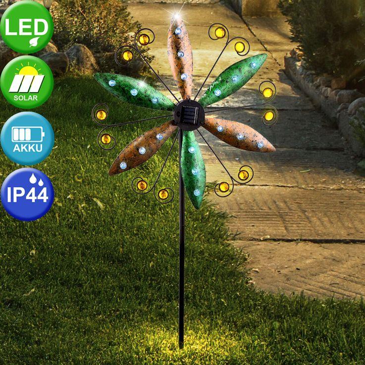 LED solar plug-in light wind wheel wing earth spike balcony spotlight rust colors  Globo 34902 – Bild 5