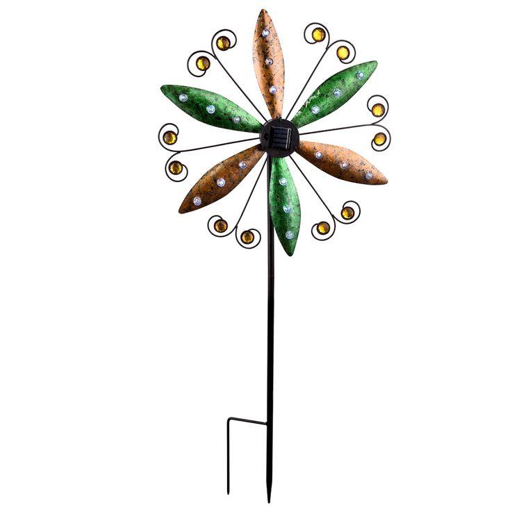 LED solar plug-in light wind wheel wing earth spike balcony spotlight rust colors  Globo 34902 – Bild 1