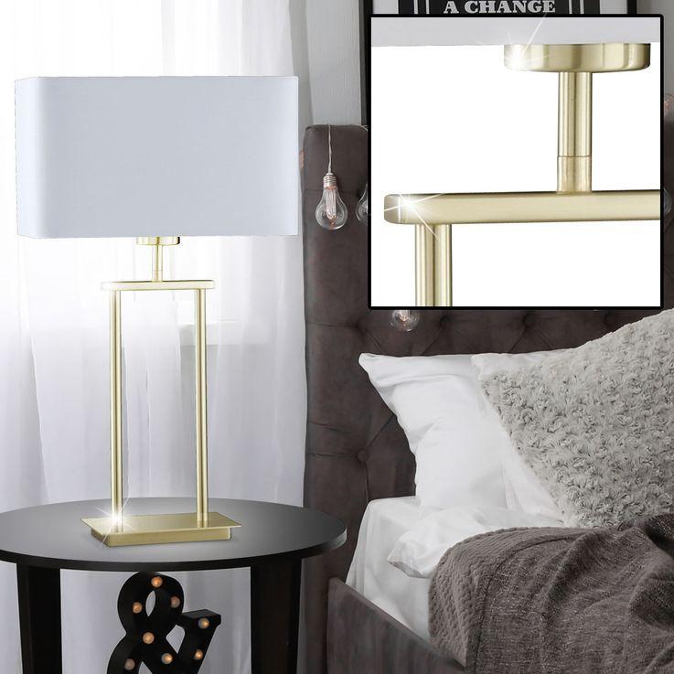 Lampe de table en tissu Salon Luminaire de salle de sommeil Lampe de lecture en laiton Lampe de nuit Honsel 98102 – Bild 2