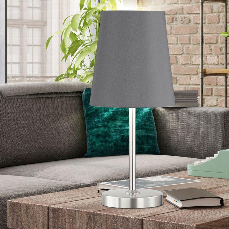 Tisch Lampe Wohn Schlaf Zimmer Beleuchtung Textil Lese Nacht Licht Leuchte grau Honsel 50772 – Bild 3