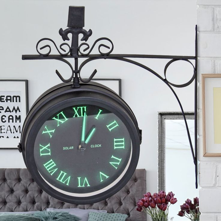 Vintage Style Wall Clock Fluorescent Living Room Decoration Quartz Time Display Roman  Harms 314593 – Bild 2