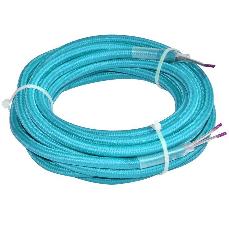 Kabel Textil Strom Pendel Leitung Lampen Verbindungs Verlängerung 2-adrig türkis Nordlux 73059902 – Bild 1