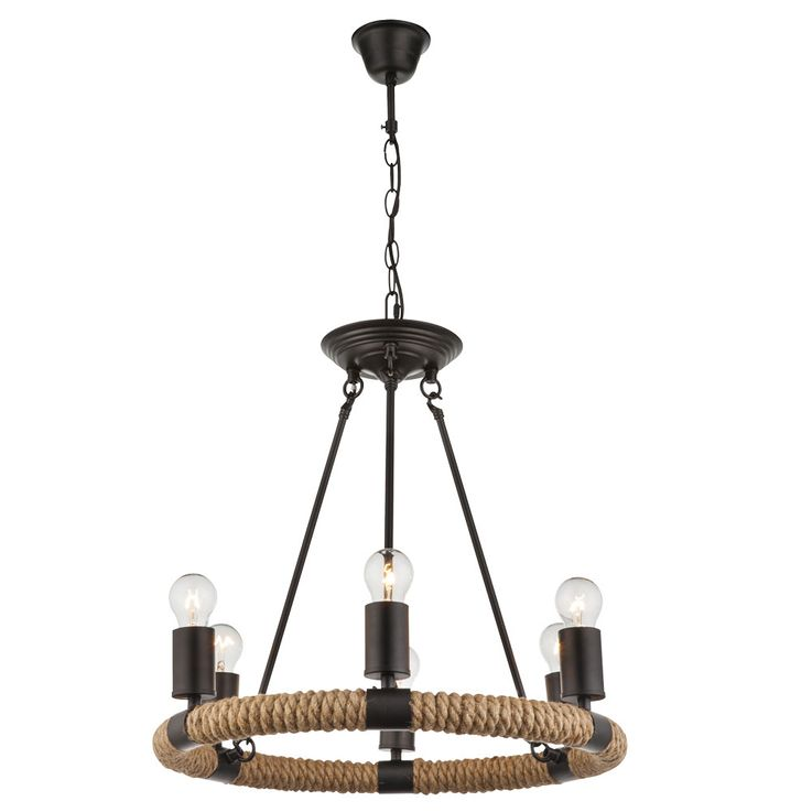 Ceiling hanging lamp hemp rope chandelier living room pendant chandelier lamp  Globo 69029-6 – Bild 1