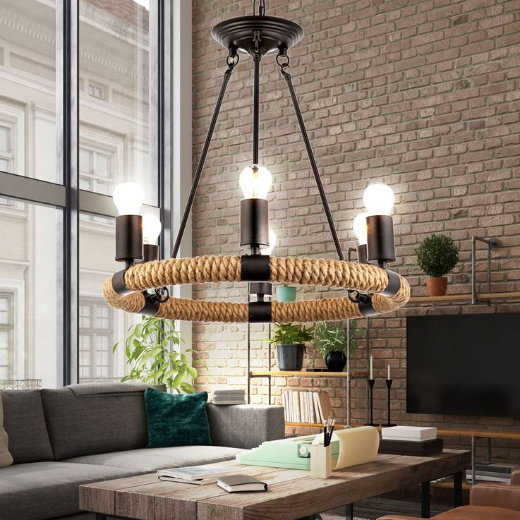 Ceiling hanging lamp hemp rope chandelier living room pendant chandelier lamp  Globo 69029-6 – Bild 3