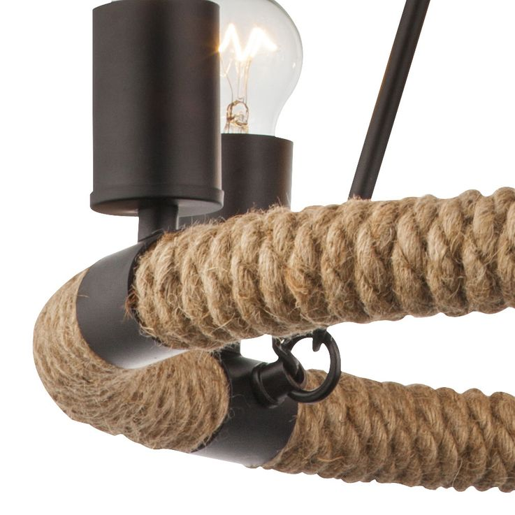 Ceiling hanging lamp hemp rope chandelier living room pendant chandelier lamp  Globo 69029-6 – Bild 5