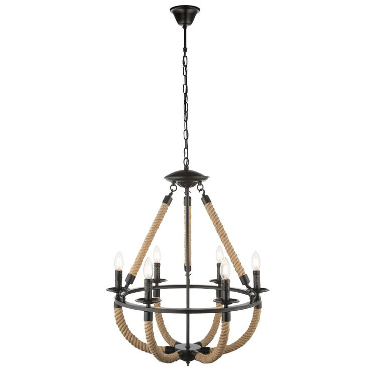 Chandelier rustic hemp rope ceiling hanging lamp living room pendulum chandelier lamp  Globo 69029-6H – Bild 1