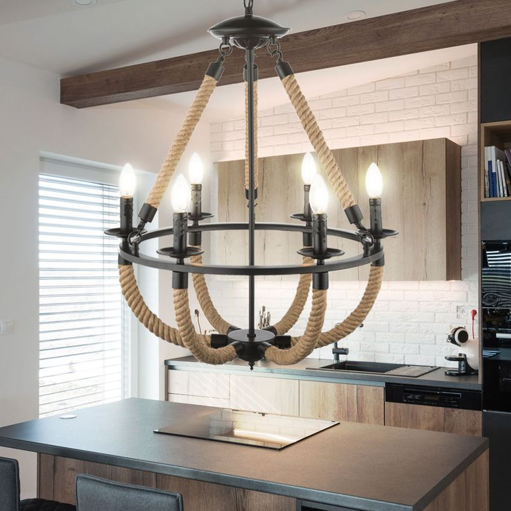Chandelier rustic hemp rope ceiling hanging lamp living room pendulum chandelier lamp  Globo 69029-6H – Bild 3